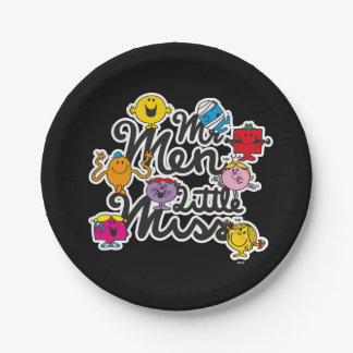 Prato De Papel Logotipo do grupo do Sr. Homem Pequeno senhorita |