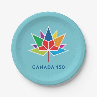 Prato De Papel Logotipo do oficial de Canadá 150 - multicolorido