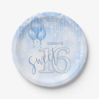 Prato De Papel Lt do doce 16 das luzes & dos balões da corda.