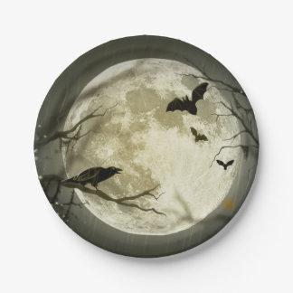 Prato De Papel Lua do Dia das Bruxas - ilustração da Lua cheia