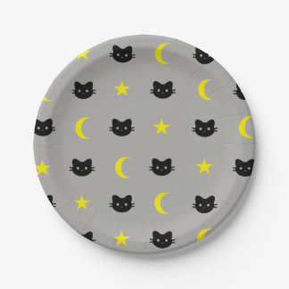 Prato De Papel lua do gato do gatinho e placas de papel das