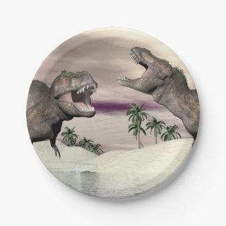 Prato De Papel Luta do dinossauro do rex do tiranossauro - 3D