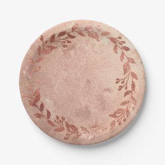Prato De Papel Lux nupcial do louro de cobre do ouro do rosa do