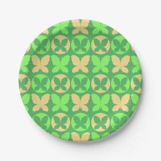 Prato De Papel Luz de verde limão - borboleta amarela Patt das