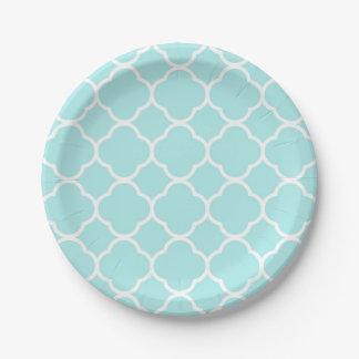 Prato De Papel Luz - elegante geométrico moderno do quatrefoil