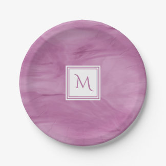 Prato De Papel Luz simples - monograma moderno de mármore subtil