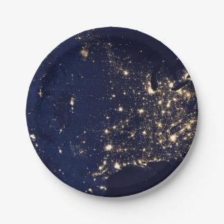 Prato De Papel Luzes da NASA do espaço EUA