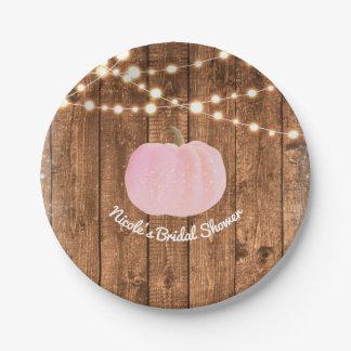 Prato De Papel Luzes de madeira rústicas do outono cor-de-rosa da
