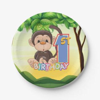 Prato De Papel Macaco do partido de primeiro aniversario