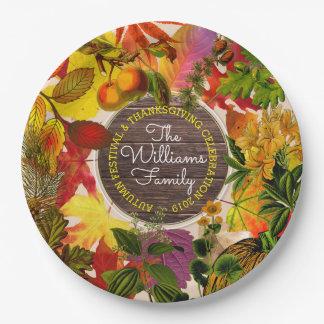 Prato De Papel Madeira do vintage da colagem das folhas de outono
