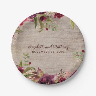 Prato De Papel Madeira e casamento rústico das flores de Borgonha