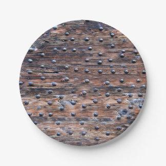 Prato De Papel Madeira resistida velha rústica com unhas