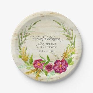 Prato De Papel Madeira rústica floral de w do rosa de Borgonha da
