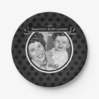 Prato De Papel Mamã do vintage e chá de fraldas preto e branco da