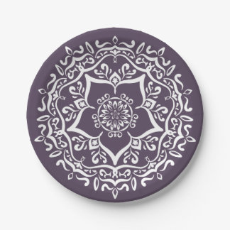 Prato De Papel Mandala da ameixa
