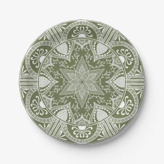Prato De Papel Mandala do musgo