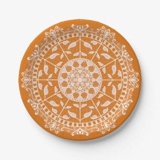 Prato De Papel Mandala do tarte de abóbora