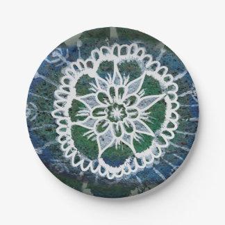 Prato De Papel Mandala feita sob encomenda do azul das placas de