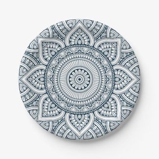 Prato De Papel Mandala floral branca azul geométrica