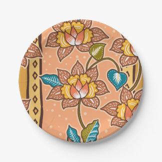 Prato De Papel Mão dourada teste padrão floral decorativo tirado