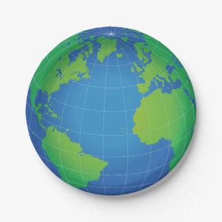 Prato De Papel Mapa do globo do mundo