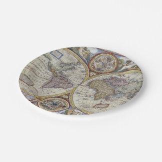 Prato De Papel Mapa do mundo antigo #3
