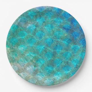Prato De Papel Mar Mermaidscales do Aqua com quadro do brilho do