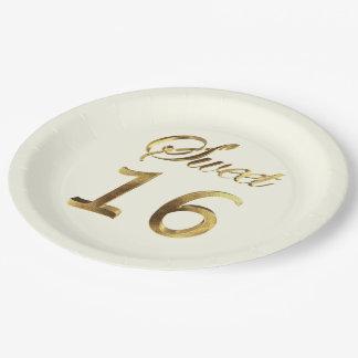Prato De Papel Marfim da tipografia do olhar do ouro do doce 16