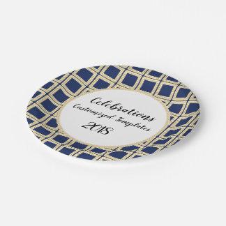 Prato De Papel Marinho-Ouro-Ii--Celebração-Modelo-Personalize