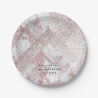 Prato De Papel Mármore branco geométrico do ouro do rosa do rosa