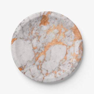 Prato De Papel Mármore branco & placa de papel de cobre
