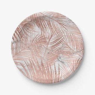 Prato De Papel Mármore cor-de-rosa da folha da palmeira do ouro