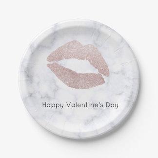 Prato De Papel mármore cor-de-rosa feminino elegante do branco