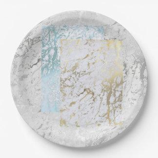 Prato De Papel Mármore de prata cinzento branco geométrico da