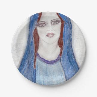 Prato De Papel Mary no azul
