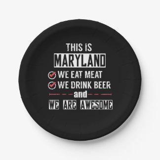 Prato De Papel Maryland come a cerveja da bebida da carne