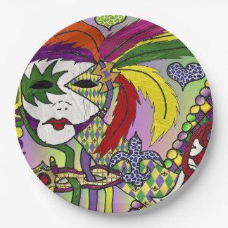 Prato De Papel Máscara psicadélico da pena do carnaval