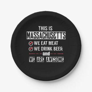 Prato De Papel Massachusetts come a cerveja da bebida da carne