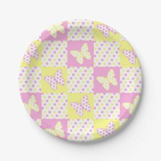 Prato De Papel Menina amarela cor-de-rosa do teste padrão da