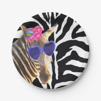 Prato De Papel Menina moderna da forma animal da selva da zebra