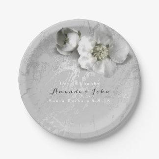Prato De Papel Metálico de prata cinzento da flor real de mármore