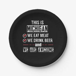 Prato De Papel Michigan come a cerveja da bebida da carne
