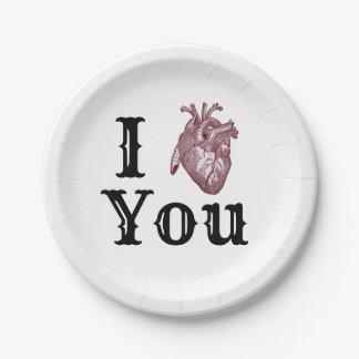 Prato De Papel Mim coração você