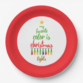 Prato De Papel Minha cor favorita é luzes de Natal