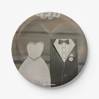 Prato De Papel Minhas placas de papel do dia do casamento