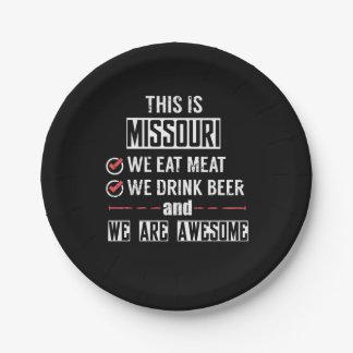 Prato De Papel Missouri come a cerveja da bebida da carne