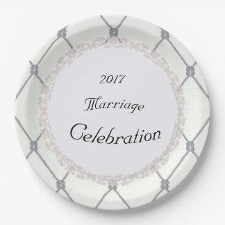 Prato De Papel MODELO do Branco-Diamante-Prata-Corda-Casamento