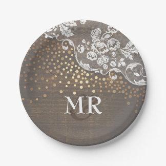 Prato De Papel Monograma de madeira do casamento do laço dos