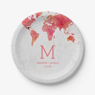 Prato De Papel Monograma do casamento do destino do mapa do mundo