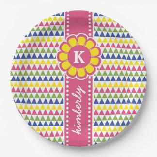 Prato De Papel Monograma geométrico colorido da fita da flor da